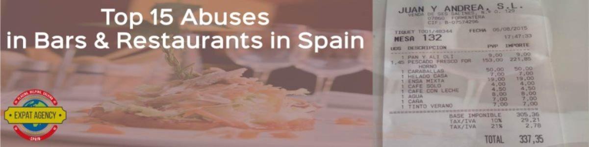 Top 15 Abuses in Bars & Restaurants in Spain