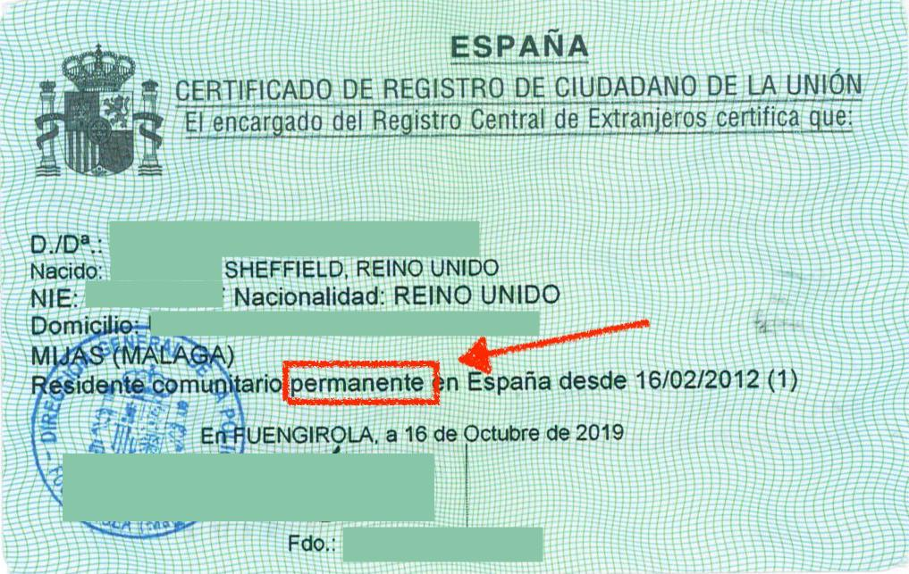 permanent residency in Spain